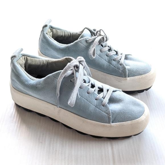 ZARA Trafaluc blue suede Platform Creepers Sneaker